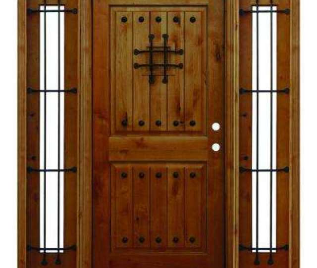 Mediterranean Rustic  Panel V Groove Stained Knotty Alder Wood Prehung Front Door With
