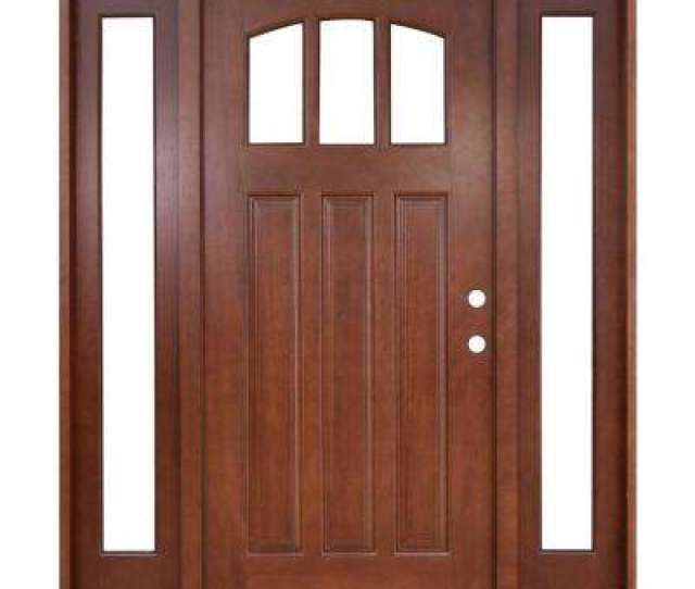 Craftsman  Lite Arch Stained Mahogany Wood Prehung Front Door With Sidelites
