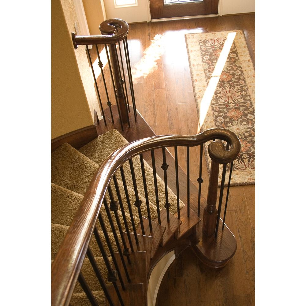 House Of Forgings 7235 Red Oak Right Hand Volute 6210 Wood   Wooden Staircase Handle Designs   Balusters   Stainless Steel   Stair Case   Modern Stair Railings   Stair Parts