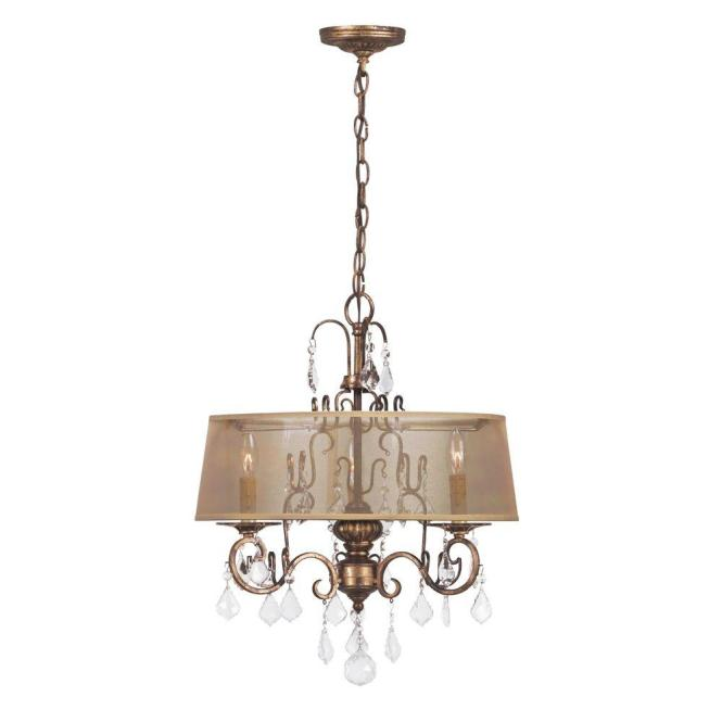 World Imports Belle Marie Collection 3 Light Antique Gold Hanging Chandelier Wi194390 The Home Depot