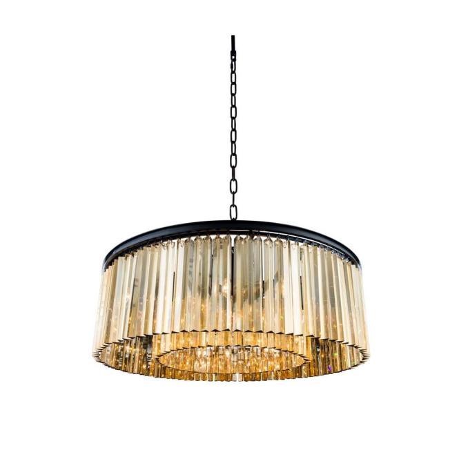 Elegant Lighting Sydney 10 Light Mocha Brown Chandelier With Golden Teak Smoky Crystal 1208g43mb Gt Rc The Home Depot
