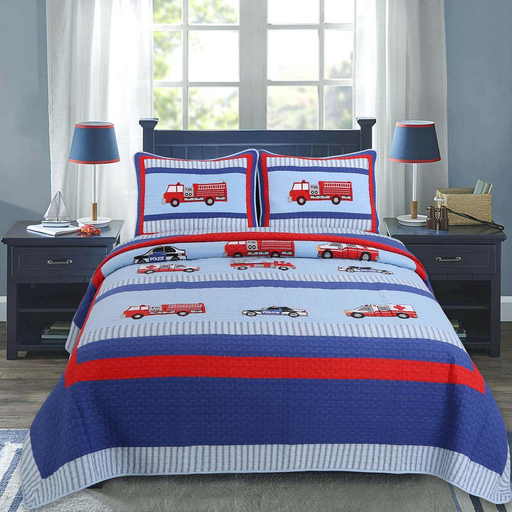 cozy line home fashions hero services wheels firetruck police car ambulance emt vehicles 2 piece red blue striped cotton twin quilt bedding