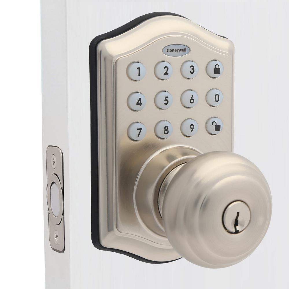 Honeywell Satin Nickel Keypad Electronic Knob Entry Door Lock 8732301 The Home Depot