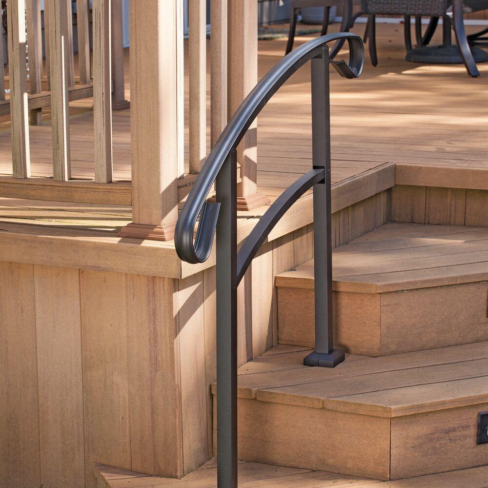 Tuffbilt Handirail 3 57 In X 47 75 In X 3 09 Ft Matte Black 3 | Prefab Stairs Outdoor Home Depot | Precast Concrete Steps | Patio | Wrought Iron | Porch | Stair Riser