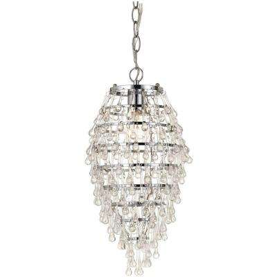 Crystal Teardrop 1 Light Chrome Mini Chandelier With Clear Drop Glass Accents