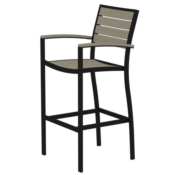 POLYWOOD Euro Textured Black All Weather Aluminum Plastic Outdoor     POLYWOOD Euro Textured Black All Weather Aluminum Plastic Outdoor Bar Arm  Chair in Sand
