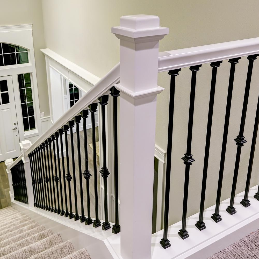 Stair Parts 1 2 In Matte Black Metal Angled Baluster Shoe I350B | Banister Rail And Spindles | Square | Traditional | Carved Wood | Residential | Glass