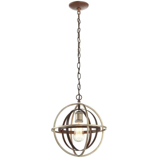 1 Light Bronze And Champagne Pewter Orb Mini Pendant