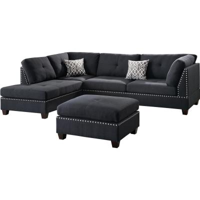 black sectionals living room