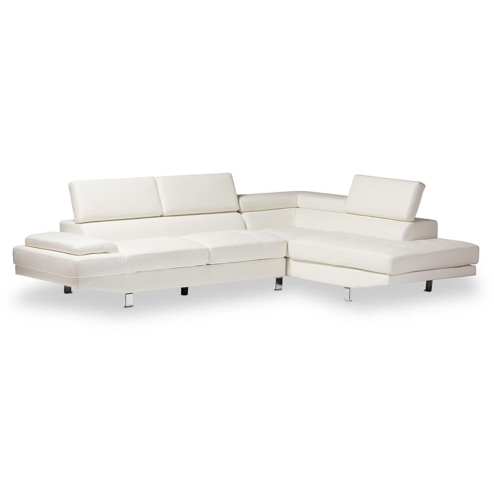 baxton studio selma white faux leather 4 seater l shaped right facing chaise sectional sofa with chrome legs 4537 4538 hd the home depot