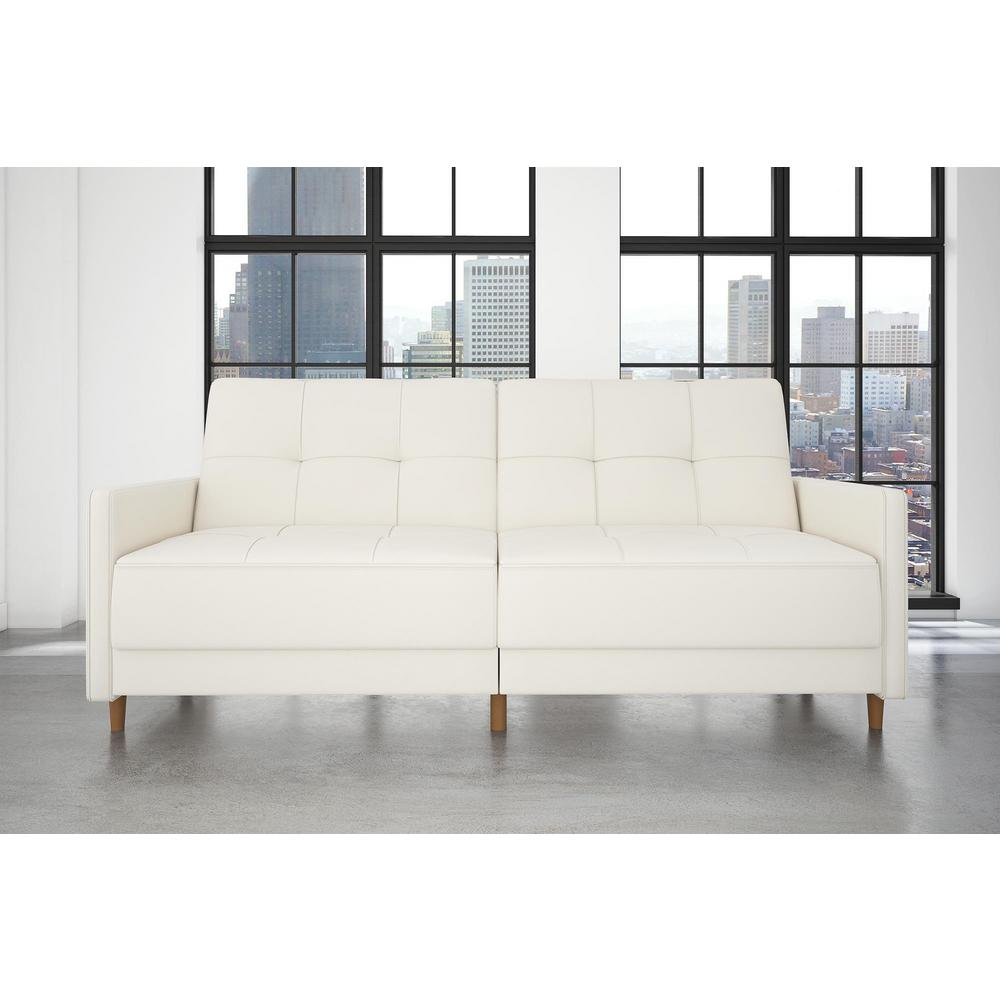 dhp andora coil twin double size white faux leather futon 2146109 the home depot