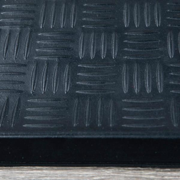 Ottomanson Dirt Off Black Square Nosed 18 In X 30 In Rubber | Outdoor Rubber Stair Treads Home Depot | Riser | Coin Grip | Rubber Cal | Stair Mats | Recycled Rubber