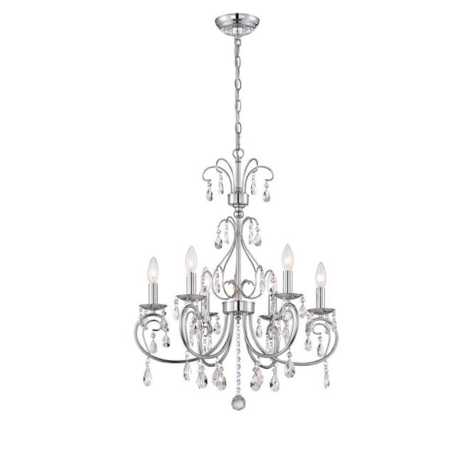 World Imports Kothari 6 Light Chrome Chandelier With Hanging Crystals Wi974508 The Home Depot