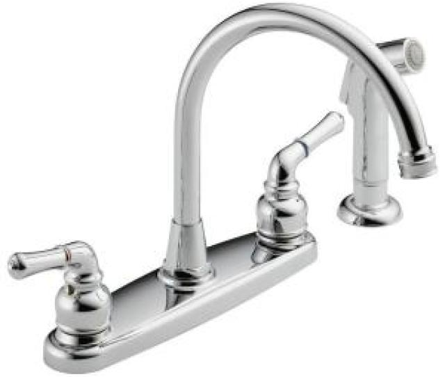 High Arc  Handle Standard Kitchen Faucet With Side Sprayer In Polished Chrome
