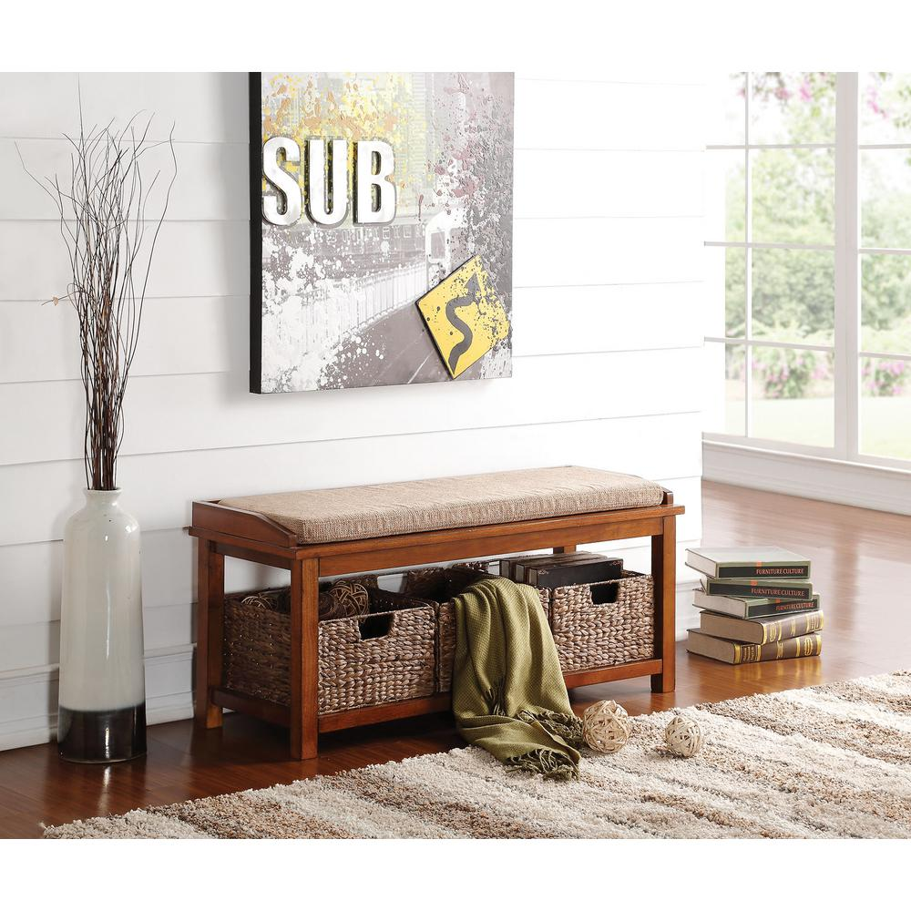 homeroots amelia light brown microfiber and walnut bench with storage 285470 the home depot