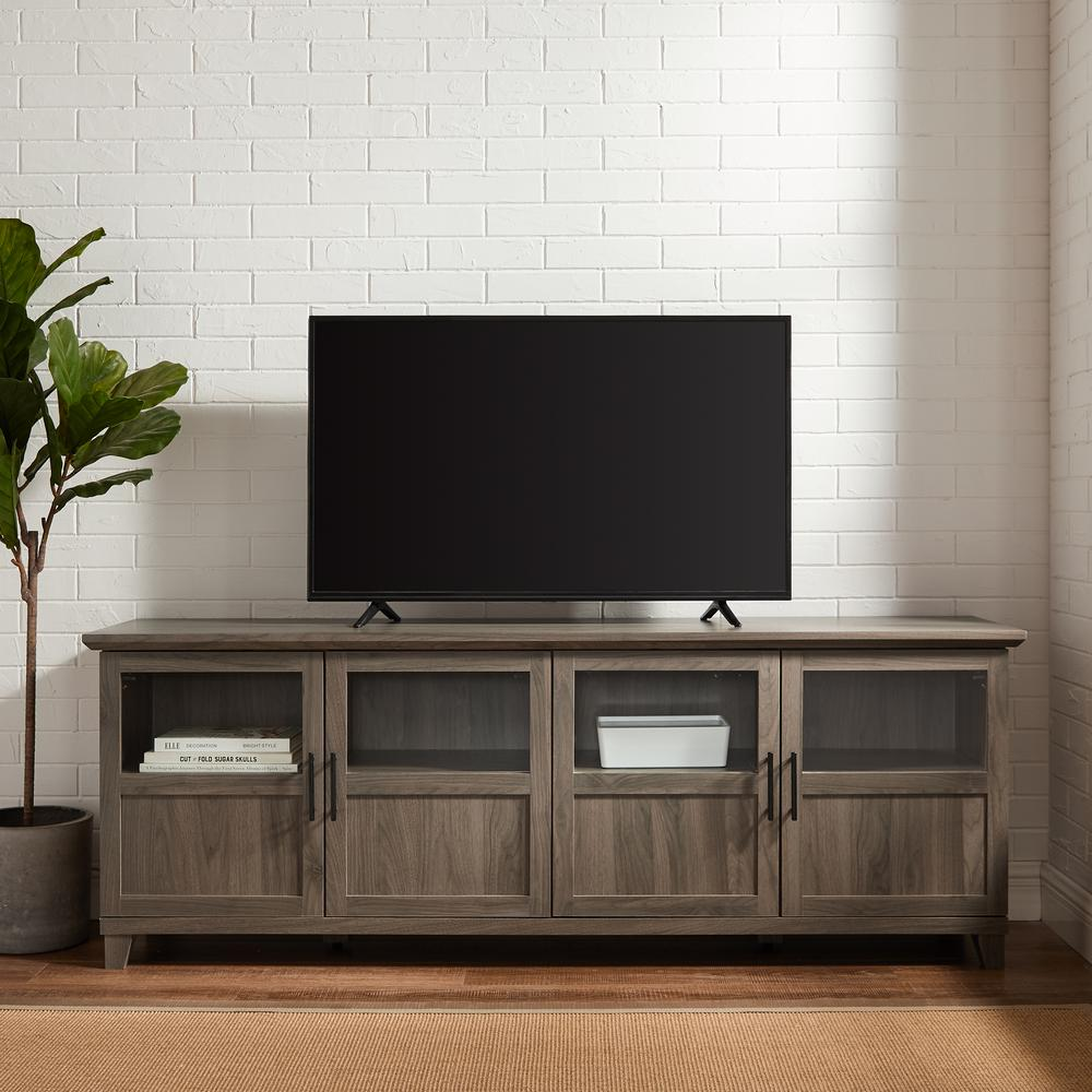 welwick designs 70 in slate gray composite tv stand fits tvs up to 78 in with storage doors hd8122 the home depot
