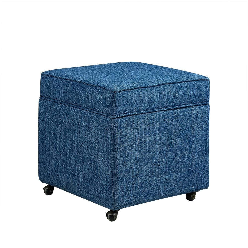 inspired home laurie blue linen upholstered rolling cube storage ottoman on12 03bl hd the home depot