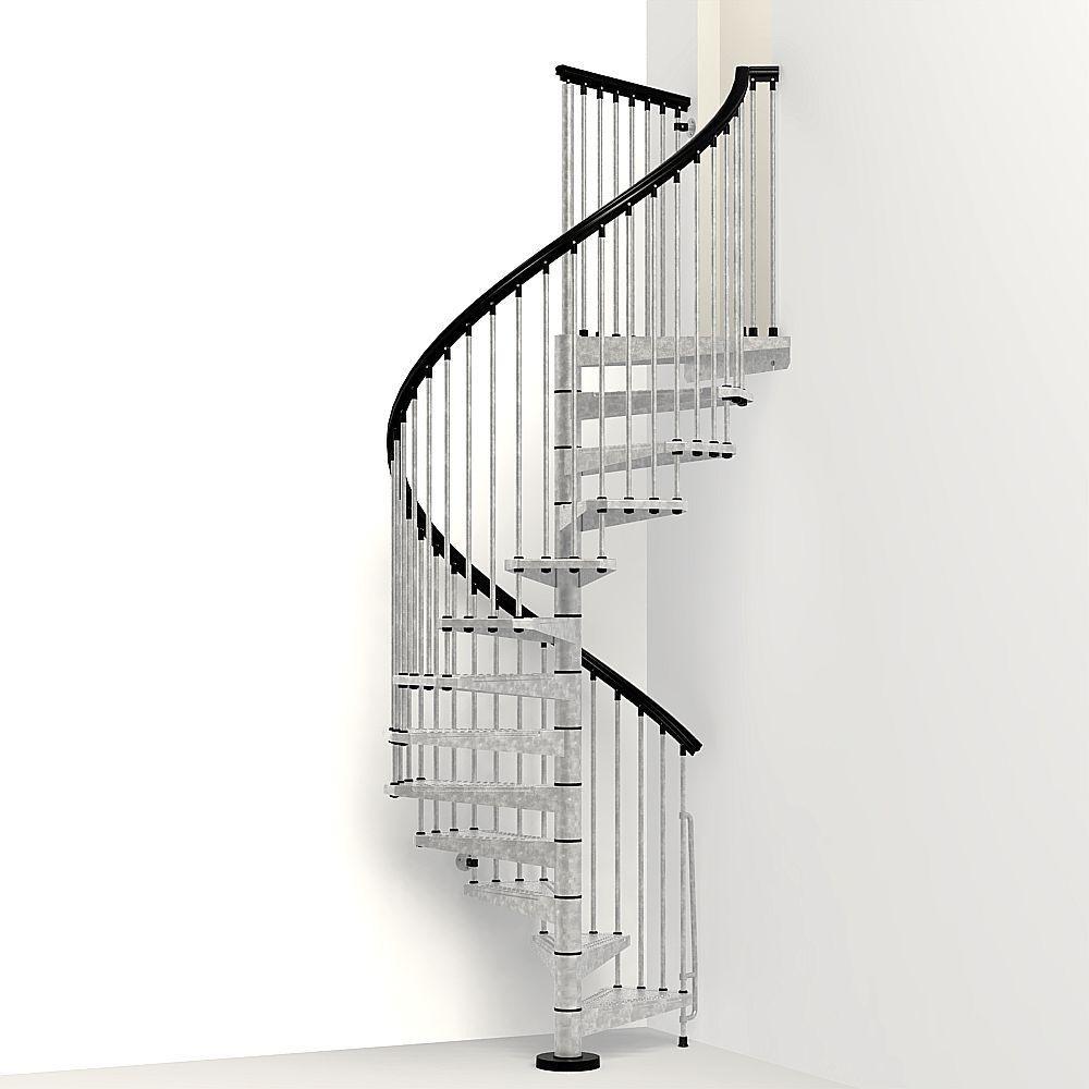 Arke Enduro 63 In Galvanized Steel Spiral Staircase Kit K05003   Outdoor Spiral Staircase Home Depot   Stair Parts   Stair Case   Steel Spiral   Stair Kit   Handrail