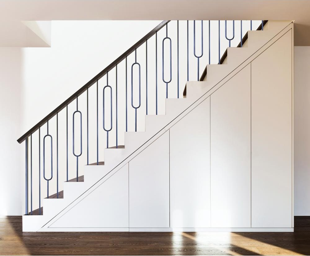 House Of Forgings Aalto Modern 44 In X 5 In Satin Black Single | House Of Forgings Aalto | Stair Parts | Aalto Modern | Aalto Collection | Wrought Iron Baluster | Handrail