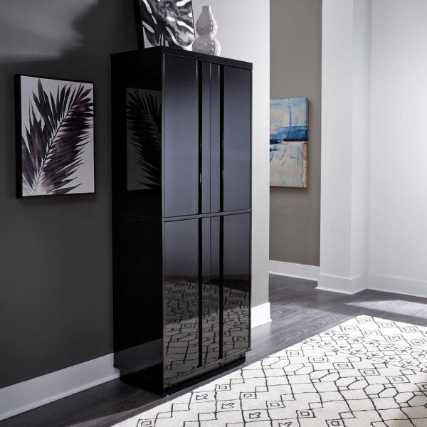 Homestyles Linear Black Kitchen Pantry 8002 69 The Home Depot