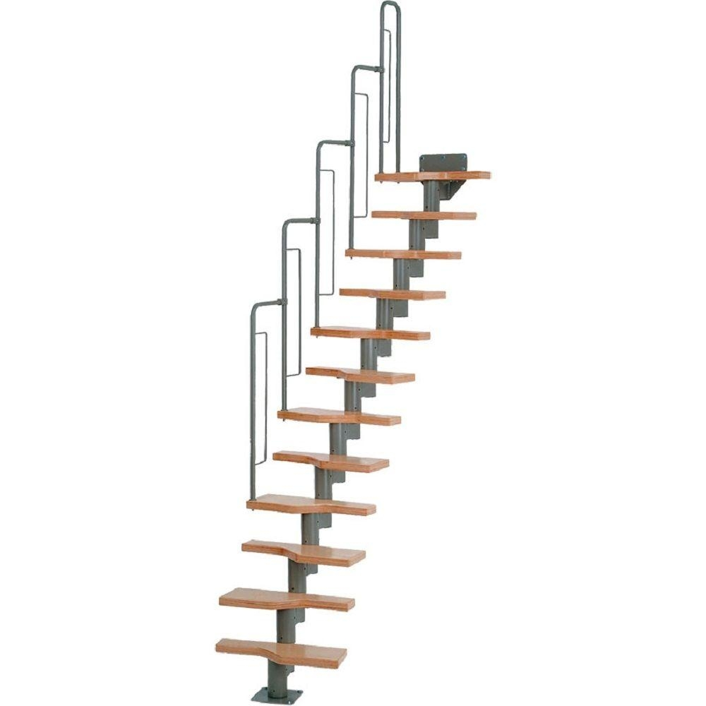 Dolle Graz 23 In Grey Modular 12 Tread Stair Kit 68540 The Home   Prefab Wooden Stairs Home Depot   Cement   Modular Staircase   Handrail   Stair Stringer   Stair Railing