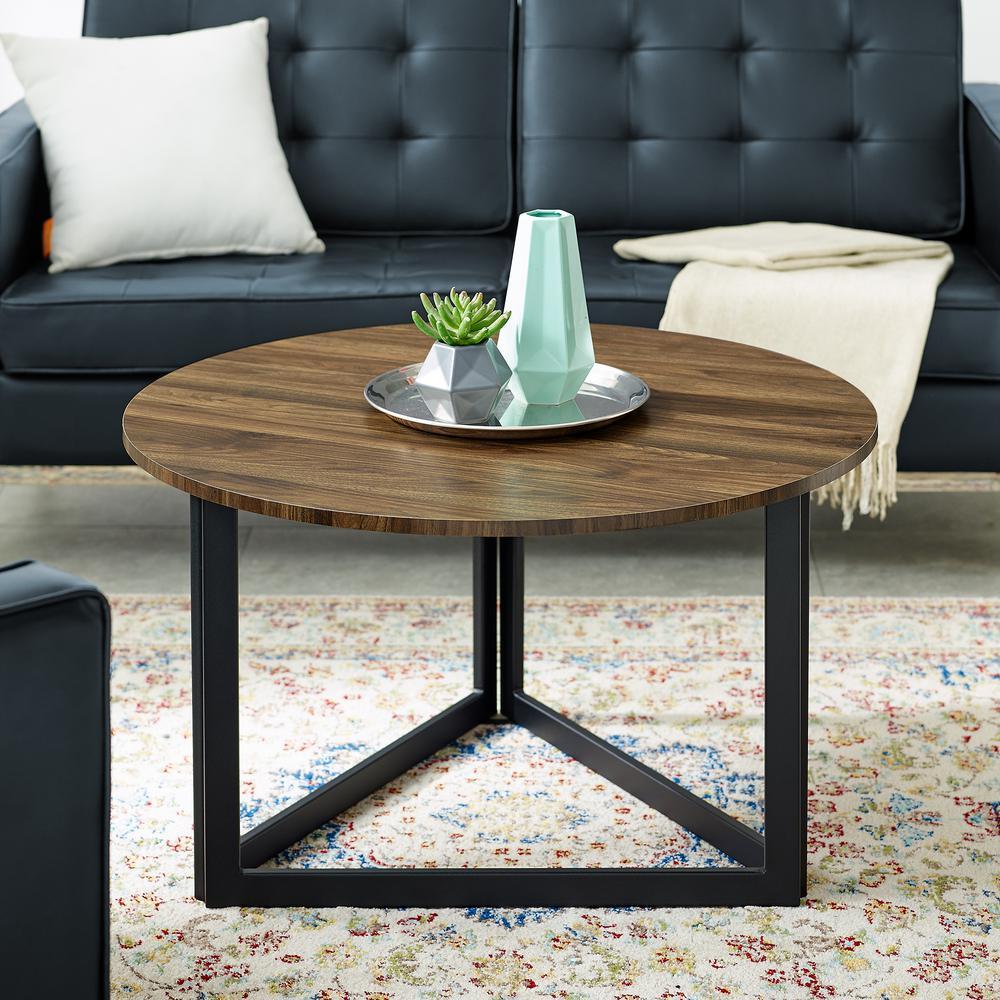 Welwick Designs Modern Dark Walnut Round Coffee Table Hd8126 The Home Depot
