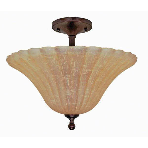 Glomar 3 Light Copper Bronze Semi Flush Mount Light with Champagne     Glomar 3 Light Copper Bronze Semi Flush Mount Light with Champagne Linen  Washed Glass