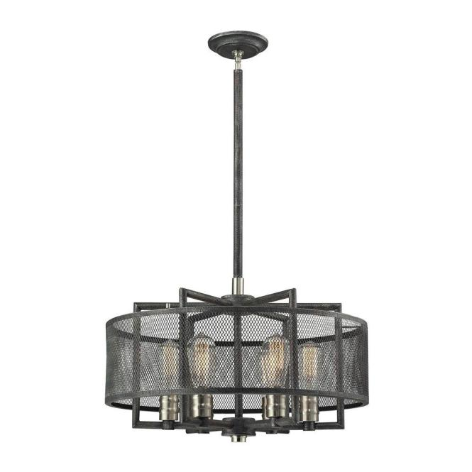 An Lighting Slatington 6 Light Silvered Graphite And Brushed Nickel Chandelier With Wire Mesh Shade