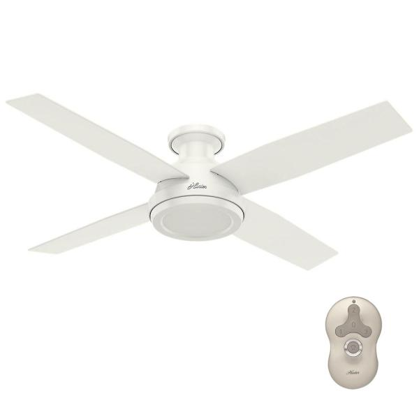 Hunter Dempsey 52 in  Low Profile No Light Indoor Fresh White     Low Profile No Light Indoor Fresh White Ceiling Fan