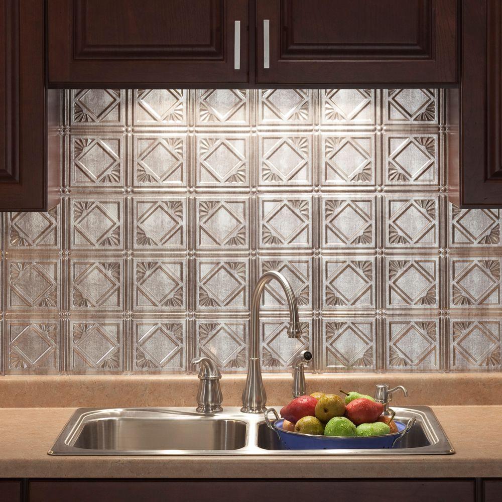 Best Kitchen Gallery: Fasade 18 In X 24 In Traditional 4 Pvc Decorative Backsplash Panel of Foil Kitchen Tile on rachelxblog.com