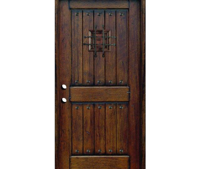 Main Door  In X  In Rustic Mahogany Type Right Hand Inswing Stained Distressed Speakeasy Solid Wood Prehung Front Door Sh  Ph Rh The Home Depot