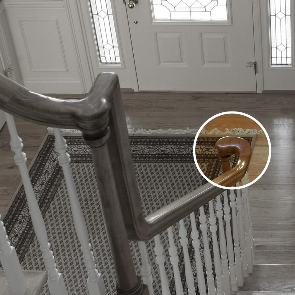 Stair Parts 7245 Unfinished Wood Poplar Right Hand Turnout Stair | Poplar Stair Treads Home Depot | Hardwood | Baluster | Hand Rail | Wood | Risers