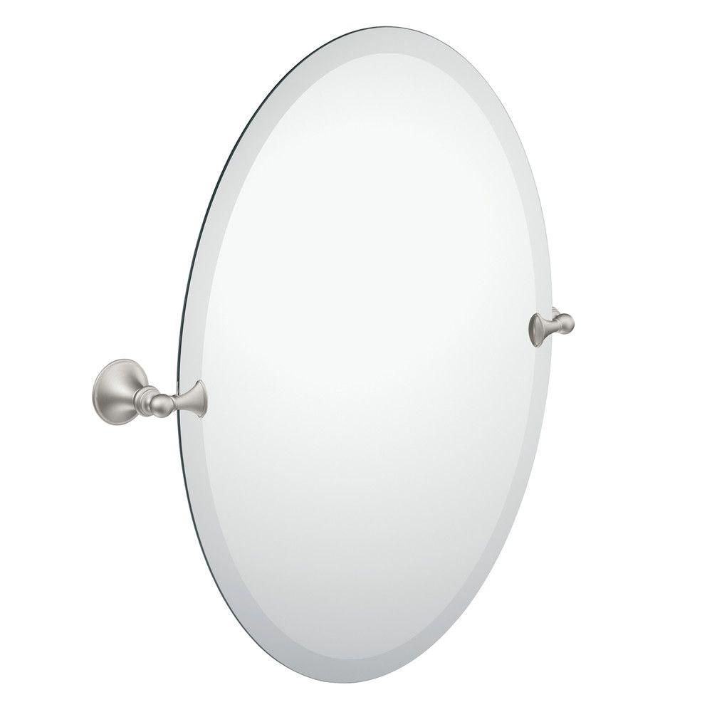 moen glenshire 26 in. x 22 in. frameless pivoting wall mirror in