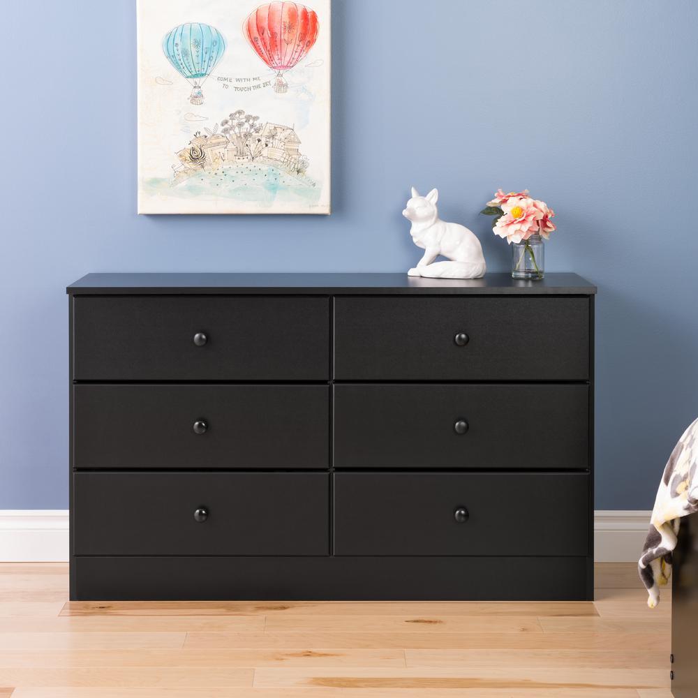 prepac astrid 6 drawer black dresser bdbr 0402 1 the home depot
