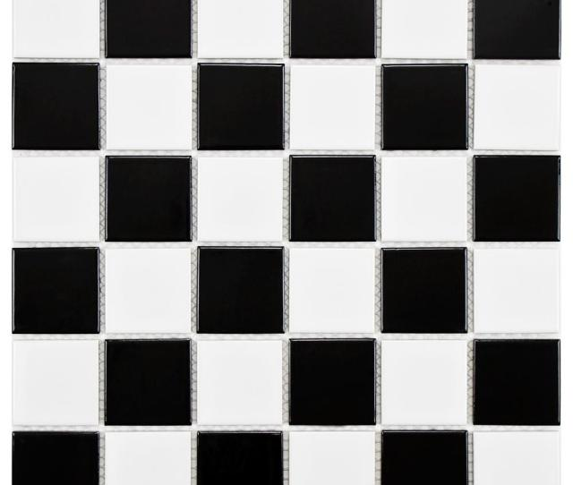 Boreal Quad Checker Black And White  In X  In X  Mm Porcelain Mosaic Tile