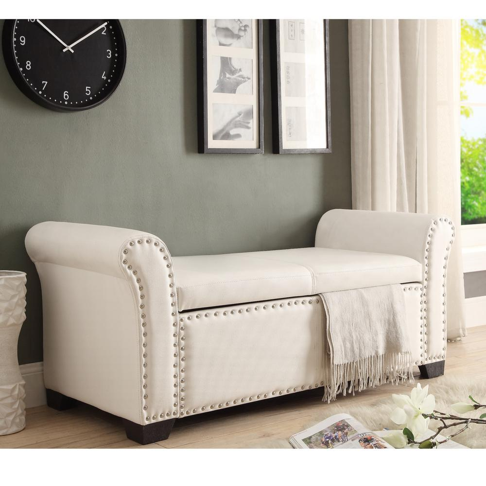 inspired home malory ivory silver pu leather ottoman storage bench nailhead trim sb54 01iv hd the home depot