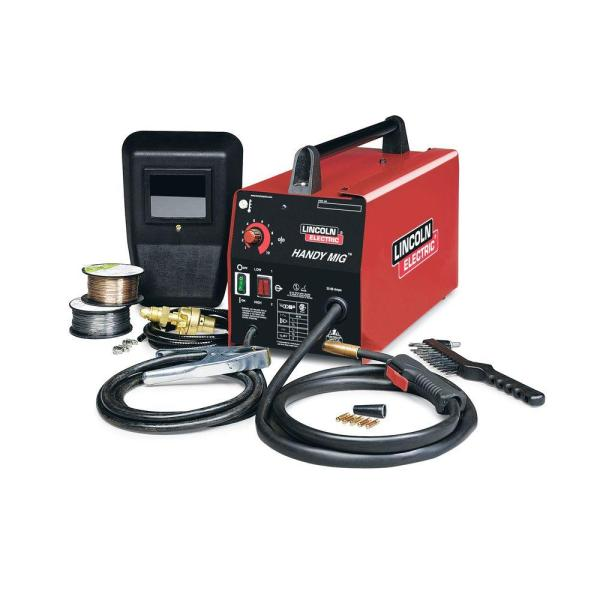 Lincoln Electric   Welding Machines   Welding   The Home Depot 88 Amp Handy MIG Wire Feed Welder with Gun  MIG and Flux Cored Wire