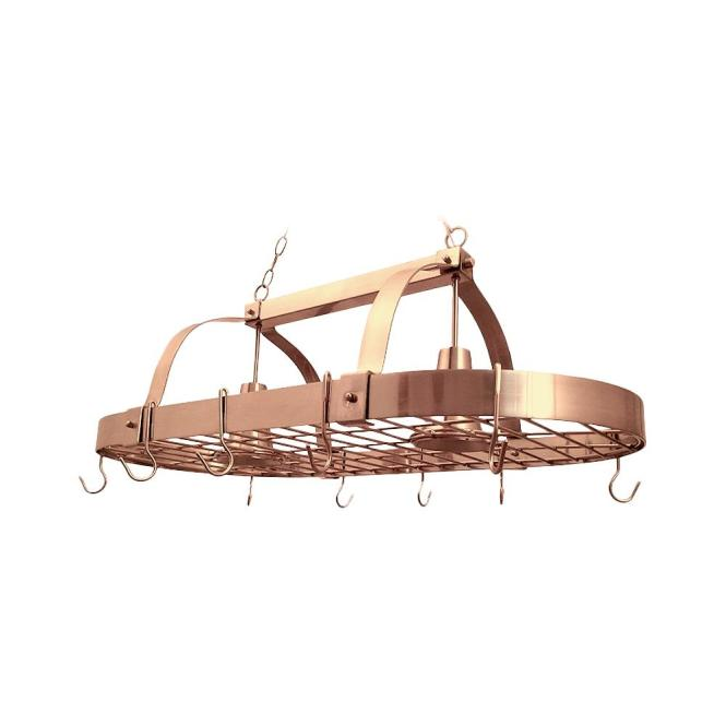 2 Light Copper Kitchen Pot Rack With Hooks