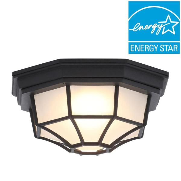 Outdoor Ceiling Lighting   Outdoor Lighting   The Home Depot Black Outdoor LED Flushmount