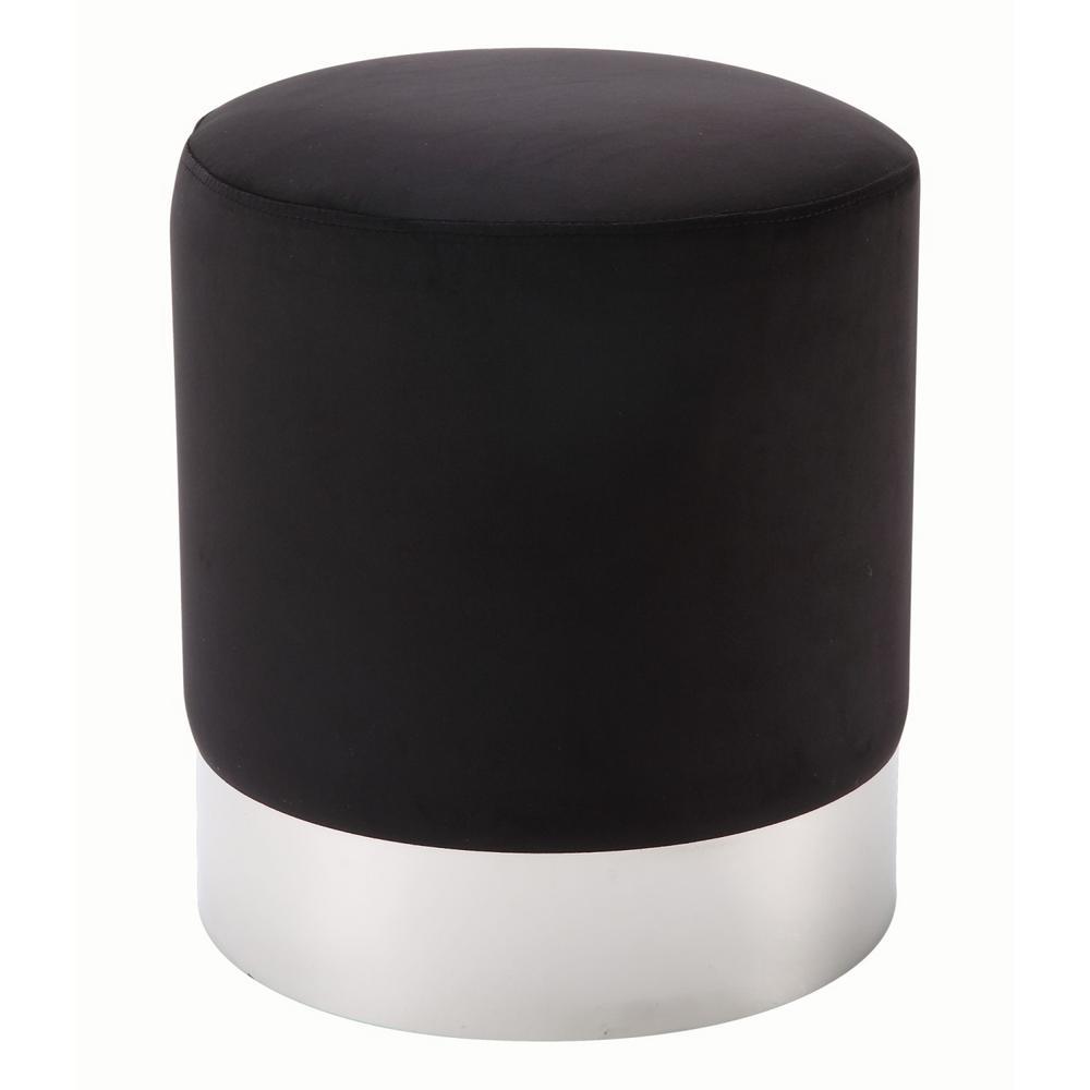 round black ottomans living room