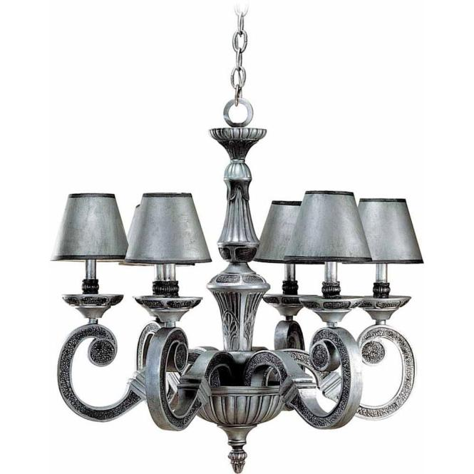 Volume Lighting 6 Light Antique Silver And Hammered Iron Chandelier