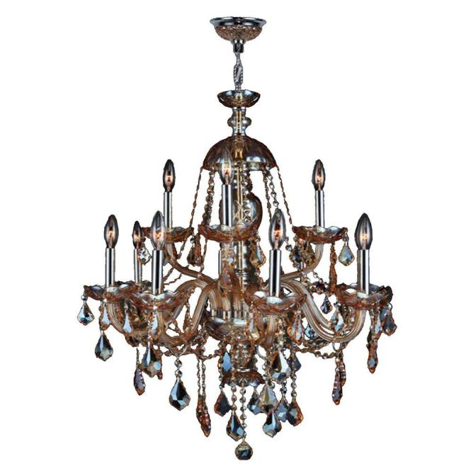 Worldwide Lighting Provence Collection 12 Light Chrome Chandelier With Amber Crystal W83101c28 Am The Home Depot