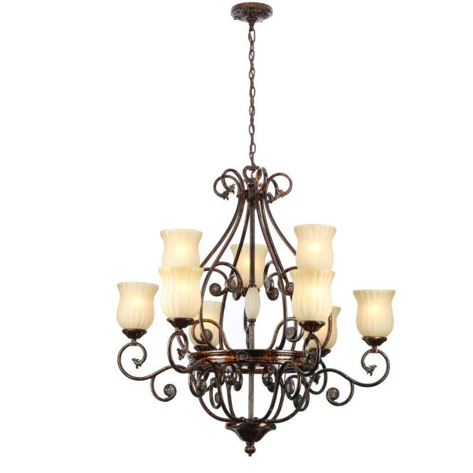 Hampton Bay Freemont Collection 9 Light Hanging Antique Bronze Chandelier With Glass Shades 13387 013 The Home Depot