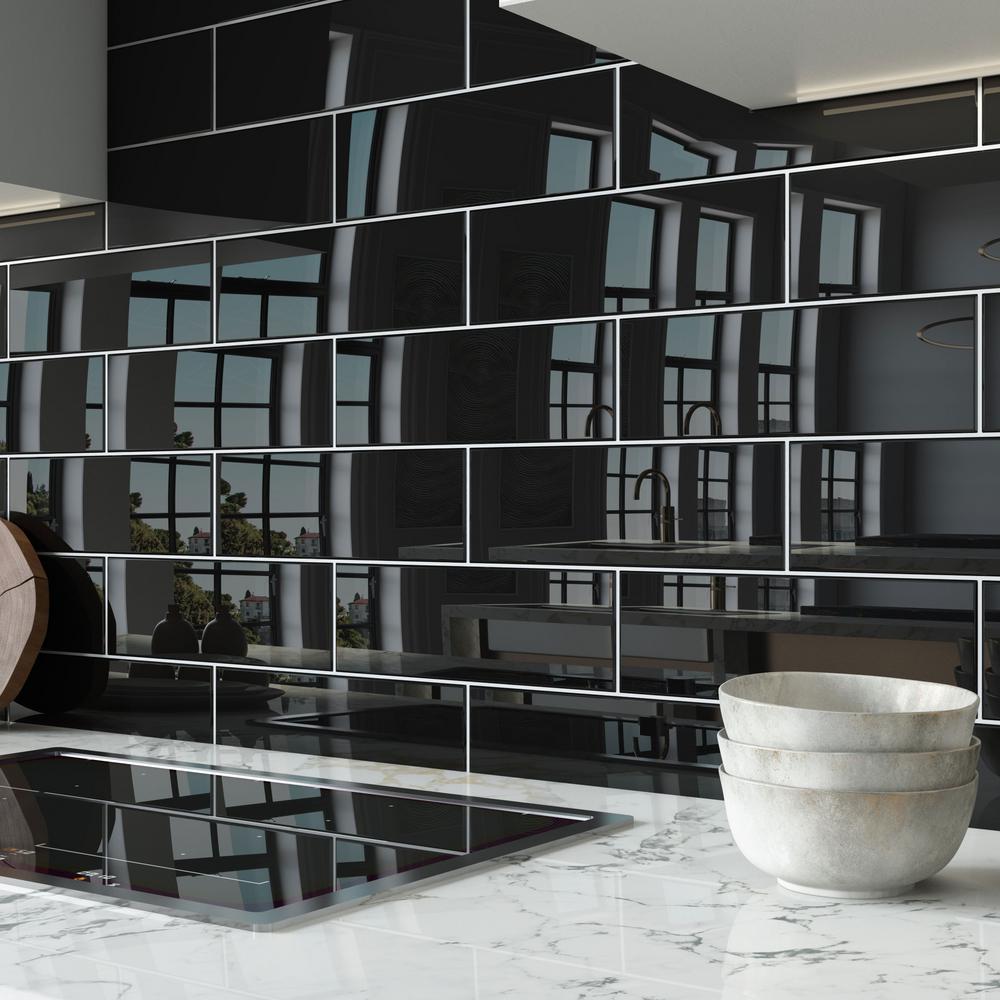 black subway glass tile tile