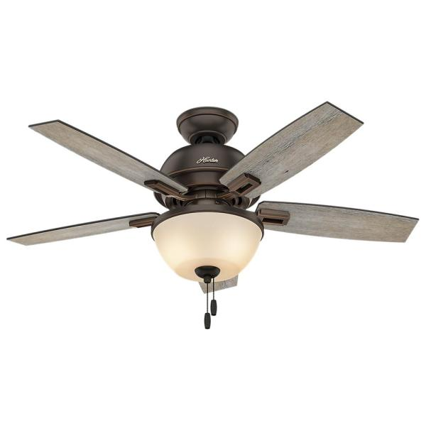 Hunter Fletcher 52 In  Indoor Premier Bronze Bowl Ceiling Fan 53359     LED Bowl Indoor Onyx Bengal Bronze Ceiling Fan