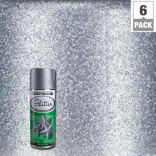 Silver Glitter Spray Paint 6 Pack