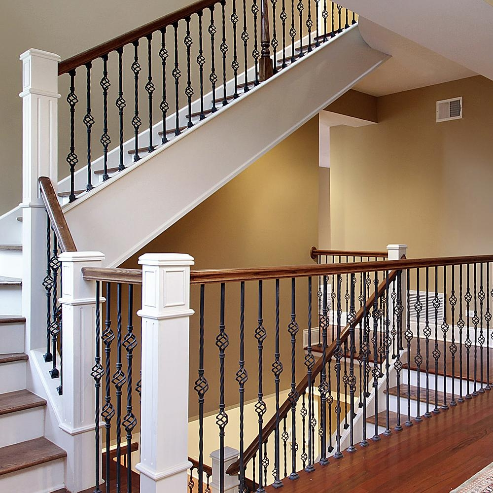 Stair Parts 44 In X 1 2 In Matte Black Metal Double Basket   Indoor Wrought Iron Railings Home Depot   Balusters   Wood   Iron Stair Rail   Stair Parts   Front Porch Railings