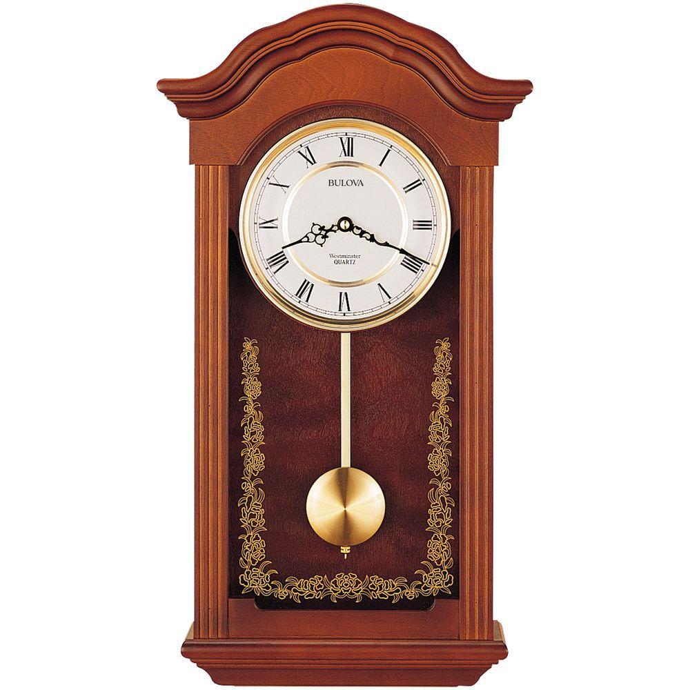 Bulova 225 In H X 1225 In W Pendulum Chime Wall Clock