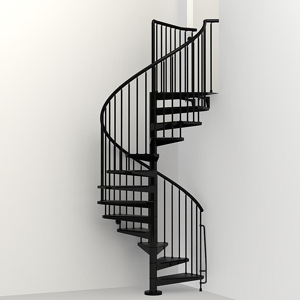 Arke Civik 47 In Black Spiral Staircase Kit K03016 The Home Depot | Spiral Staircase Near Me | Steel | Local Handyman | Handrail | Curved Staircase | Staircase Design