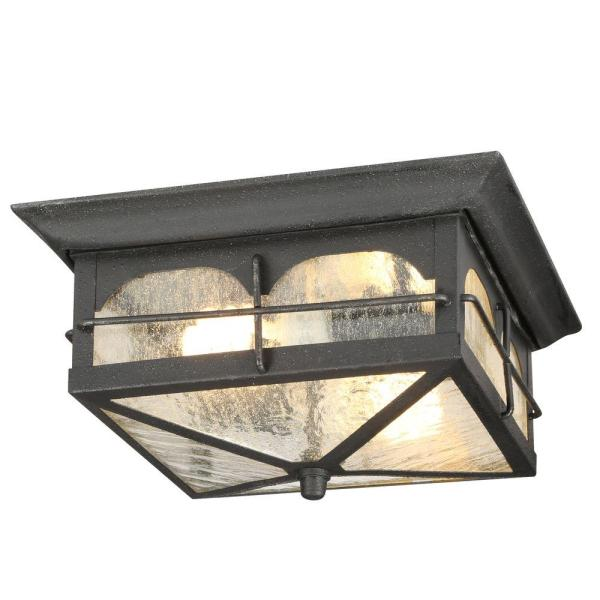 Outdoor Ceiling Lighting   Outdoor Lighting   The Home Depot Brimfield 2 Light Aged Iron Outdoor Flushmount Light